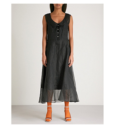 MIU MIU Bow tie-detail cotton and organza midi dress (Nero