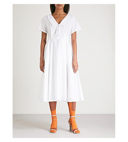 MIU MIU Bow tie-detail cotton dress (Bianco