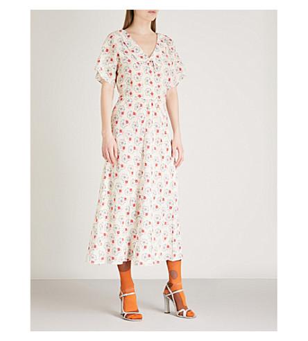 MIU MIU Floral-print crepe midi dress (Avorio