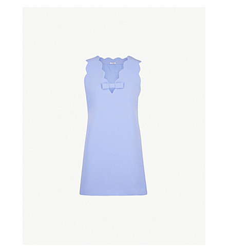 MIU MIU Scalloped-trim crepe mini dress (Pervinca
