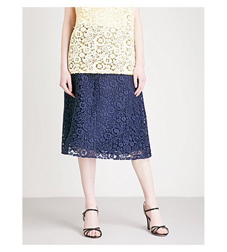 MIU MIU Lace-embroidered knitted midi skirt (Baltico