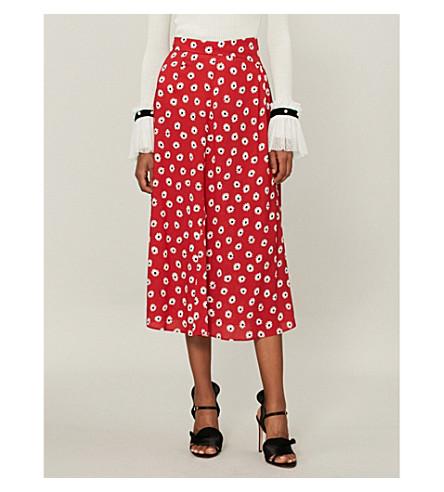 estampado crepé Rosso de ancho Pantalones con con margaritas MIU elástico MIU tq0vnvw7