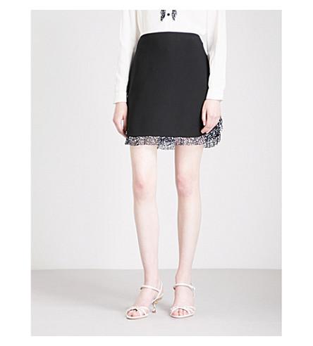 MIU MIU Diamanté-embellished crepe skirt (Nero