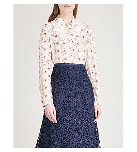 MIU MIU Floral-print crepe shirt (Avorio
