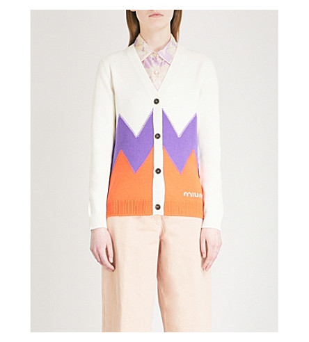 MIU MIU Zigzag-panelled wool cardigan (Avorio