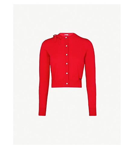 MIU MIU Bow-detail knitted cardigan (Rosso