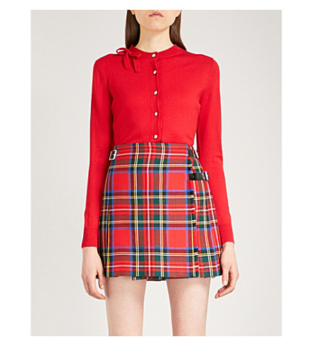 MIU MIU Bow-detail knitted cardigan (Rosso