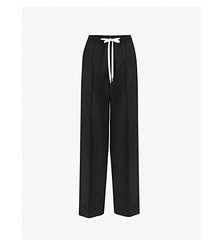 MIU MIU Side-stripe wide wool and mohair-blend trousers (Nero