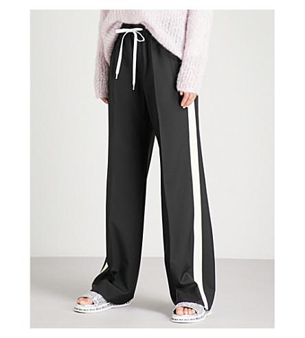 MIU MIU Side-stripe wide wool and mohair-blend trousers (Nero