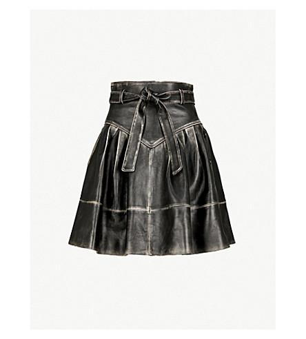MIU MIU Bi-colour belted leather skirt (Nero