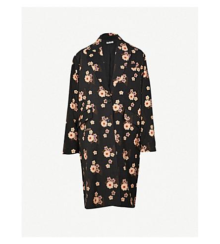 MIU MIU Floral-print woven coat (Nero