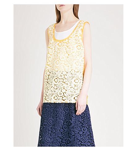 MIU MIU Lace-embroidered silk-organza top (Vaniglia