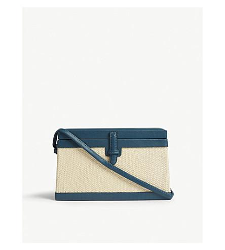 HUNTING SEASON Straw and nappa leather rectangular trunk shoulder bag (Octane