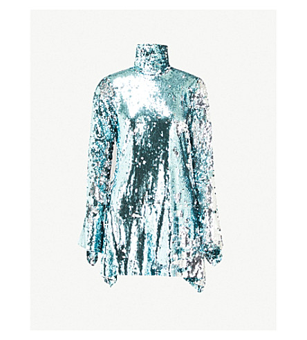 HALPERN Turtleneck sequinned mini dress (Ice+blue+silver