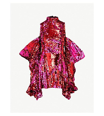 HALPERN Cold-shoulder sequinned mini dress (Fuchsia red