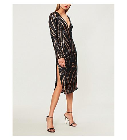 HALPERN V-neck sequinned midi dress (Copper+black