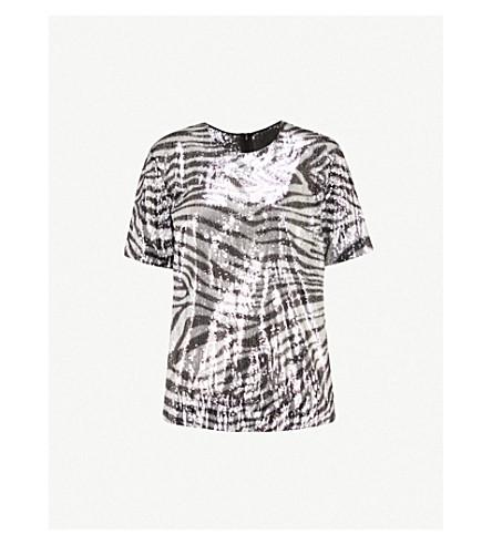 HALPERN Zebra-pattern sequinned top (Black+silver