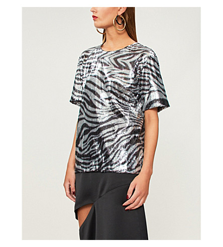 HALPERN Zebra-pattern sequinned top (Black+silver