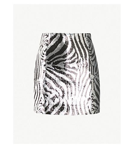HALPERN Zebra-pattern sequinned mini skirt (Black+silver+turquoise