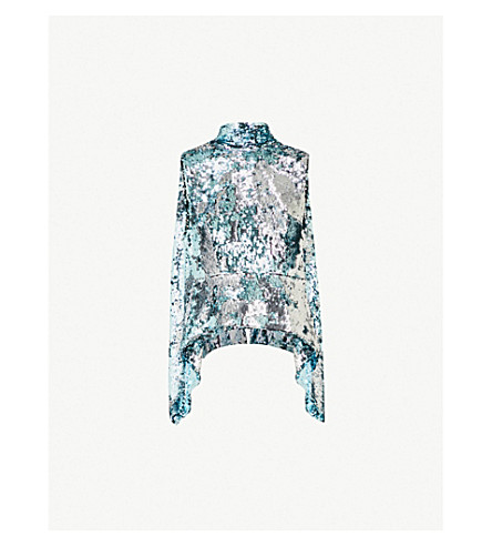 HALPERN Open-back sequinned top (Ice+blue+silver