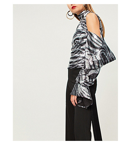 HALPERN Zebra-pattern cold-shoulder sequinned top (Silver+black