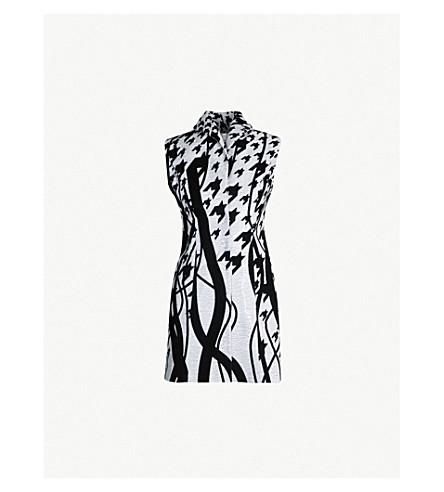 HALPERN Graphic pattern sequin and velvet dress (Black white