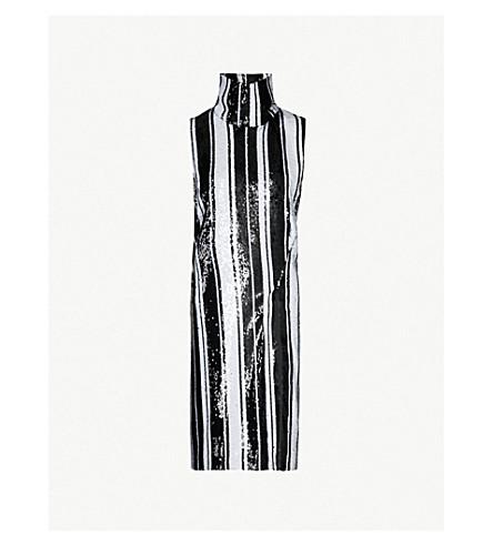 HALPERN Striped sequinned knee-length dress (Black white