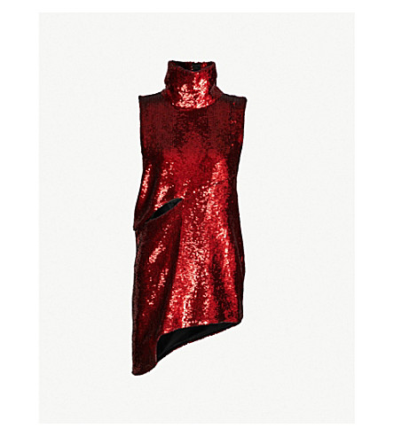 HALPERN Asymmetric sequinned mini dress (Red