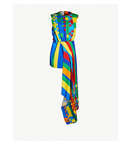 HALPERN Asymmetric woven midi dress (Multi