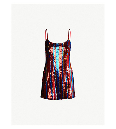 HALPERN Striped sequinned dress (Blue red gold