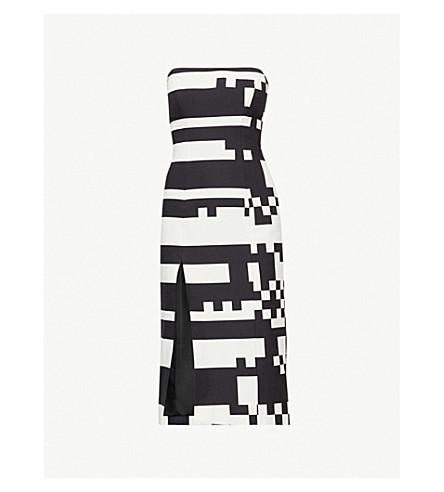 HALPERN Monochrome stretch-cotton dress (Black white