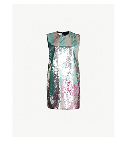 HALPERN Sequinned mini dress (Aqua pink