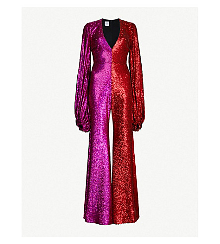 HALPERN Two-tone sequinned jumpsuit (Red pink