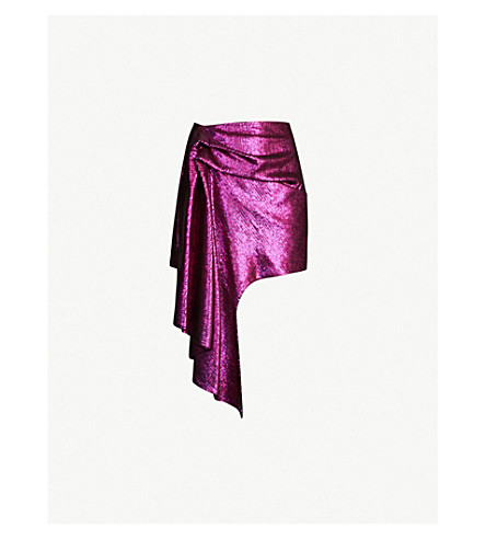 HALPERN Asymmetric draped sequinned mini skirt (Pink blue
