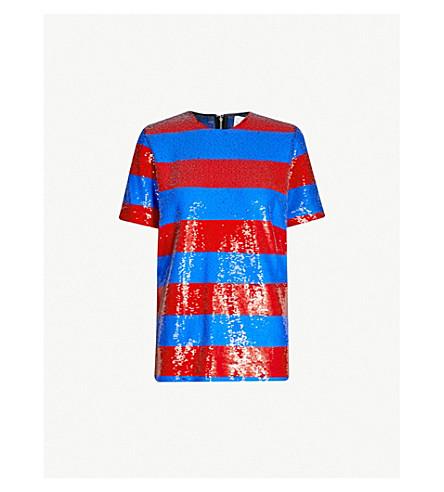 HALPERN Striped sequinned top (Blue/red