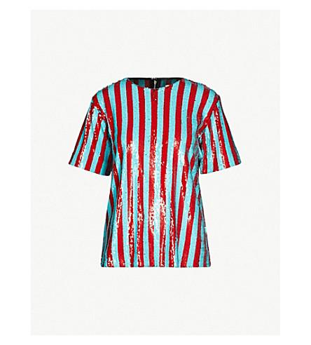 HALPERN Striped sequinned top (Aqua red