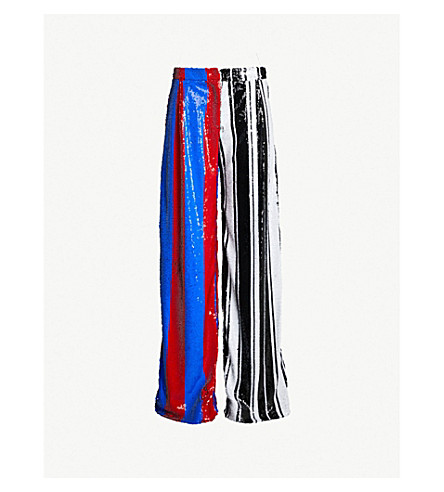 HALPERN Striped high-rise wide sequinned trousers (Black white red blue