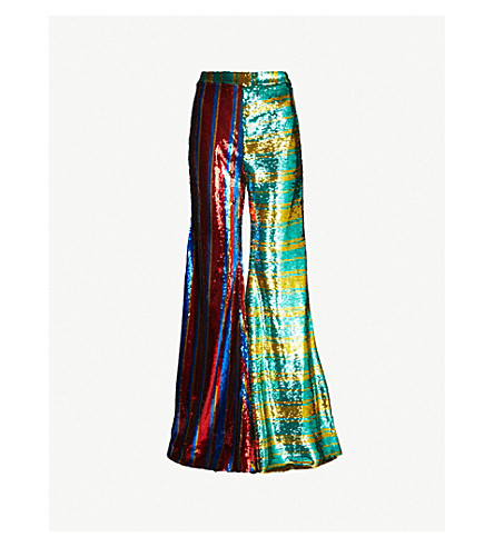 HALPERN Striped high-rise flared sequinned trousers (Aqua gold blue red gold