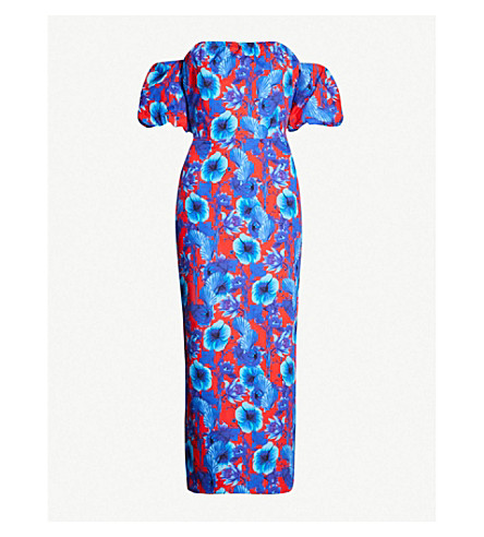 BORGO DE NOR Adelita floral-print cotton dress (Venus shell red blue