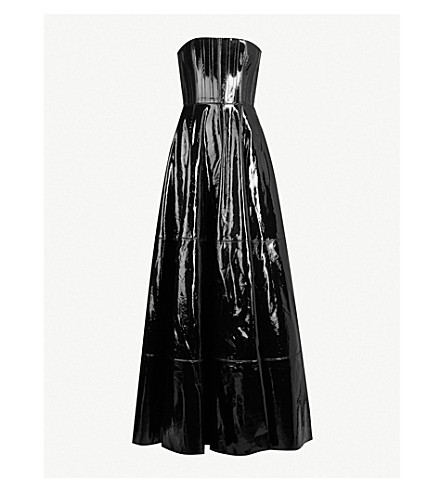 ALEX PERRY Tate strapless patent-leather gown (Black