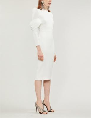 Darcy pleated-sleeve crepe dress
