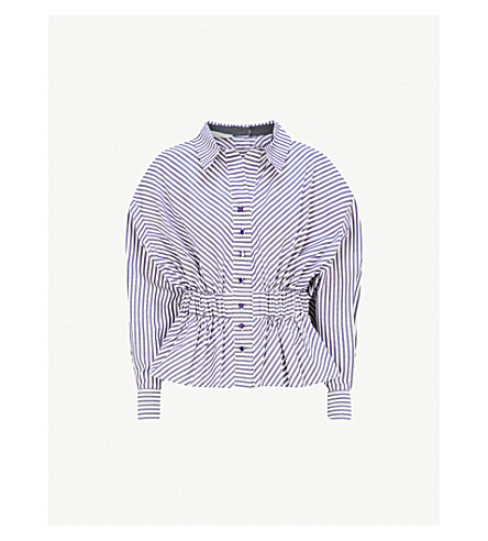 SILVIA TCHERASSI艾玛棉衬衫 (蓝色 + 条纹