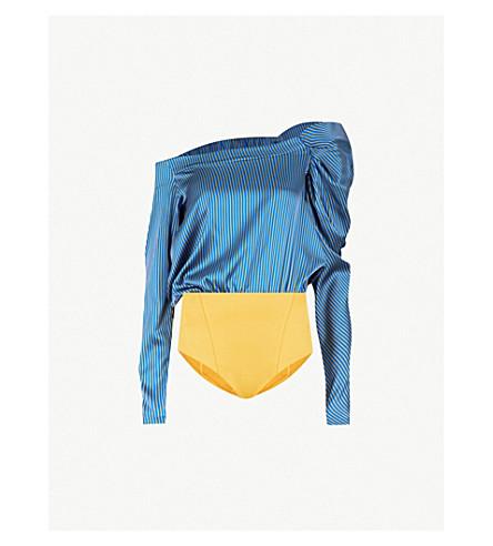 SILVIA TCHERASSI Olivia off-the-shoulder silk-blend body (Blue+stripes