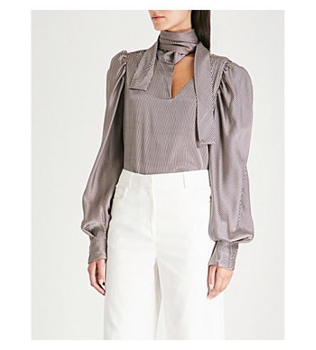 SILVIA TCHERASSI Juliette silk-blend top (Nude+black+stripes