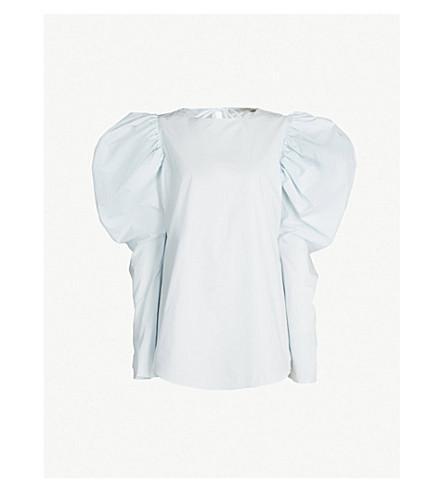 SILVIA TCHERASSI Cyperus leg of mutton-sleeve cotton top (Light blue