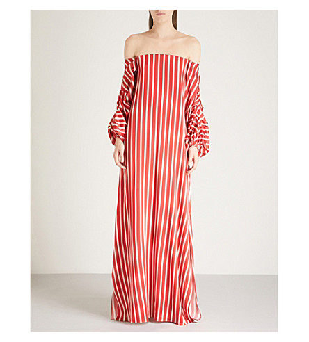 SILVIA TCHERASSI欧琳真丝连衣裙 (红 + 白 + 条纹