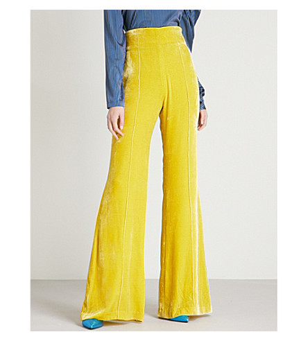 SILVIA TCHERASSI Giovanetti wide-leg high-rise velvet trousers (Lime