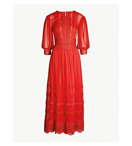 COSTARELLOS Lace-panelled blouse-sleeve chiffon midi dress (Red