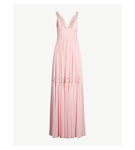COSTARELLOS Silk-chiffon and lace gown (Pink haze