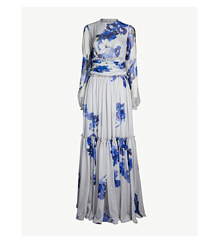 COSTARELLOS Floral-print chiffon gown (Grey/blue